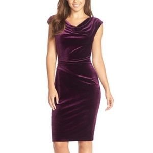 Vince Camuto Burgundy Velvet Sheath Dress